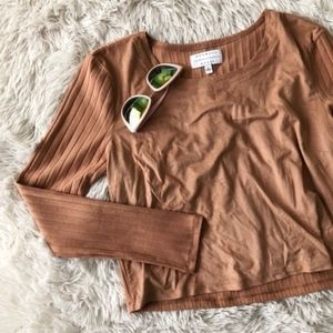 KENDALL+KYLIE camel faux suede ribbed crop top